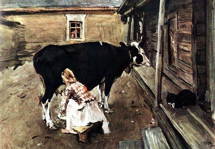 доение коровы руками